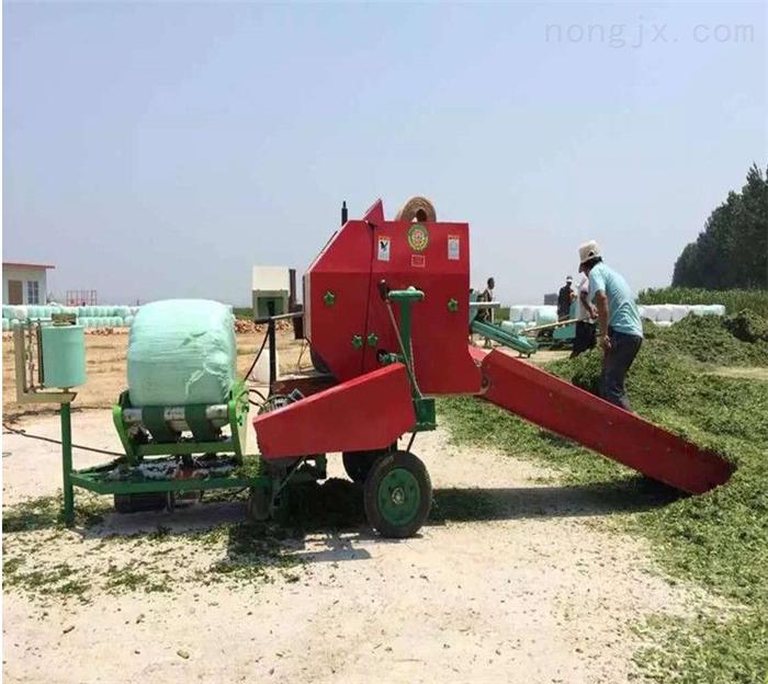 喂牛羊玉米秸秆打捆机 圆捆稻草打捆包膜机